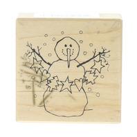 PSX E-1809 Folk Snowman with Paper Garland Wooden Rubber Stamp