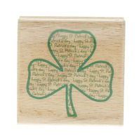 Studio G Happy St Patrick's Day Shamrock Lucky Clover Wooden Rubber Stamp