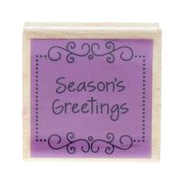 Studio G Season's Greetings Words Writing Wooden Rubber Stamp
