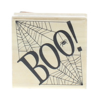 Craft smart Boo Halloween Writing Words Spider Web Wooden Rubber Stamp