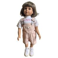 My Twinn Doll LT Brown Hair Violet Lavender Eyes Pink Overalls Outfit Kate DW20106