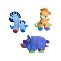 Fisher Price Amazing Animals Press and Go Extra Zebra Giraffe Rhinoceros Set DW20120