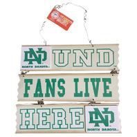 """College UND Fans Live Here North Dakota Wood Slat Ladder Sign  10.5"""" X 12"""""""