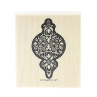 Stampin Up Ornament with Scroll Swirl Interior Wooden Rubber Stamp