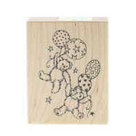 PSX D-1973 Teddy Bears Floating with Balloons Wooden Rubber Stamp