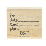 Stampin Up RSVP Party Invitation Date Time Shower Invite Wooden Rubber Stamp