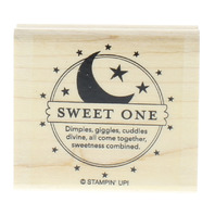 Stampin Up Sweet One Baby Moon and Stars Design Wooden Rubber Stamp