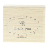Stampin Up Thank you Oval with a Butterfly Wooden Rubber Stamp