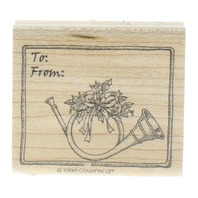 Stampin Up To and From Holiday Horn Gift Tag Wooden Rubber Stamp