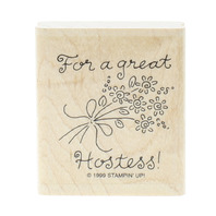 Stampin Up 1999 For a Great Hostess Flower Cluster Wooden Rubber Stamp