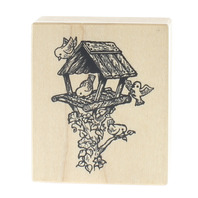 PSX E-1204 Birds in a Birdhouse with Vines Wooden Rubber Stamp