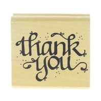 DJ Inkers Thank You Cursive Writing Words Sentiment Wooden Rubber Stamp