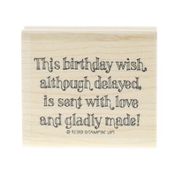 Stampin Up 1999 This Belated Birthday Wish Wooden Rubber Stamp