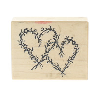 PSX Double Vining Heart with Ditsy Flowers D-1225 Wooden Rubber Stamp
