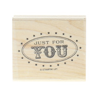 Stampin Up Just for You Oval with Stars Wooden Rubber Stamp
