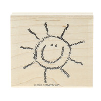 Stampin Up Sun Sketched in Crayon Happy Sunshine Wooden Rubber Stamp