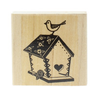 Stampin Up Birdhouse with Bird Sitting on Top Wooden Rubber Stamp