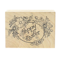 Happy Easter PSX F-657 Flower Frame with Scroll Writing Wooden Rubber Stamp