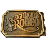 Brass Belt Buckle Metal Raleigh Lights Rodeo 1981