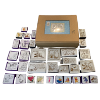 Winnie the Classic Pooh large lot of Rubber Stamp Set Eeyore Rabbit Piglet