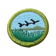 BSA Boy Scout Merit Badge Fish and Wildlife Birds Fly9ing over a Lake Uniform Patch