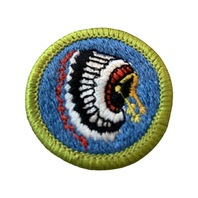 BSA Boy Scout Merit Badge Indian Lore Chief Headdress Embroidered Uniform Patch