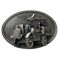 Halliburton Services 3-D Belt Buckle Pumper Firetruck Truck Excellent Condition
