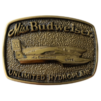 Miss Budweiser Unlimited Hydroplane Brass Belt Buckle