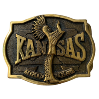 Kansas Keeper of the Plains Brass Belt Buckle with authenticity Papers