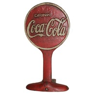 Coca Cola  Advertising Cast Iron Door Stop Display Sign Antiqued Patina
