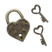 Small Ornate Heart Lock And Key Set Solid Brass with Raised Letters Antique Patina