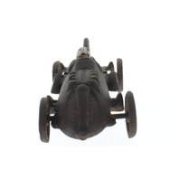 Cast Iron Racer Toy Racing Car & Driver with Moving  Wheels Antiqued Patina