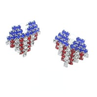 Red White and Blue Heart Dangle Drop Earrings USA Flag US American Pride
