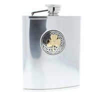 A.E. Williams Stainless Steel Hip Flask Pewter Celtic Shamrock Great Gift