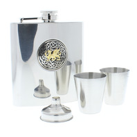 A.E. Williams Stainless Steel Hip Flask Pewter Celtic Dragon Great Gift Set