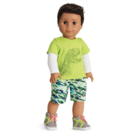 American Girl AG Dino-Mite Outfit for Boy Dolls Sneaker Shoes Shorts Top