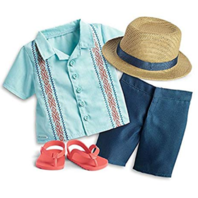 American Girl AG Sun and Fun Outfit Tropical Hat Sandals Top Shorts Boy Set