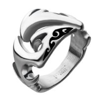 Inox Mens Stainless Steel Cut Out Wave Design Sz 12 Men's Ring