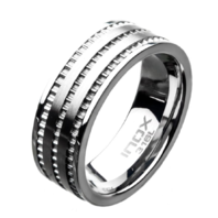 Inox Mens Stainless Steel Modern Ridge Layer Band Ring Sz 11