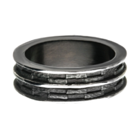 Inox Mens Stainless Steel Black Plated Edgy Layered Sz 9 Men's Ring