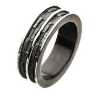Inox Mens Stainless Steel Black Plated Edgy Layered Sz 12 Men's Ring