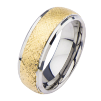 Inox Mens Steel and Gold Plated Patterned Design Ring Size 12