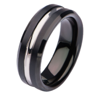 Inox Mens Black Plated and Steel Nero Ring Size 9