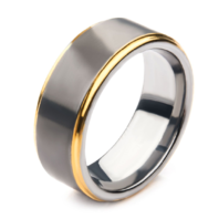 Inox Gun Metal Plated with Gold Plated Edge Steel Ring Sz 10