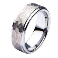 Inox Stainless Steel Hammered Ring Sz 11