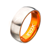 Inox Mens Orange Steel Dome Aluminum Flat Band Ring Size 11