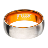 Inox Mens Orange Steel Dome Aluminum Flat Band Ring Size 12