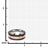 Inox Mens Rose Gold Carbon Fiber and Stainless Steel Ring Sz 11