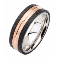 Inox Mens Rose Gold Carbon Fiber and Stainless Steel Ring Sz 12