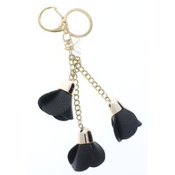 Black Dangle Drop Rose Bud Flower Gold Tone Key Chain Fob Purse Charm
